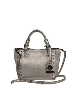 Rafe Joey Mini Leather Tote Bag, Metallic Gray