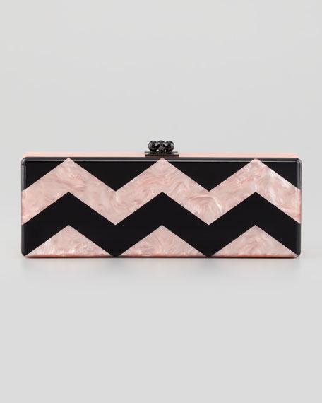 Flavia Chevron Acrylic Clutch Bag, Pink/Black