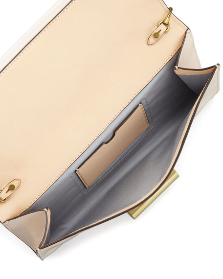 Patent Leather T-Pin Clutch Bag, Eggshell