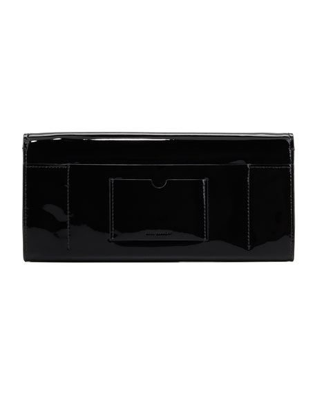 Patent Leather T-Pin Clutch Bag, Black