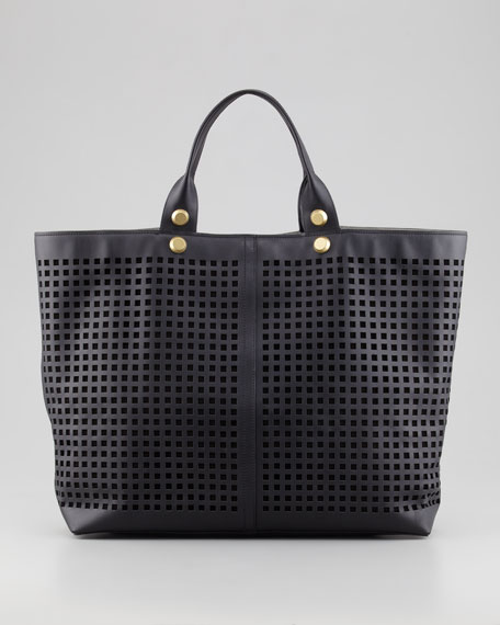 Track Perforated Leather Tote Bag, Black
