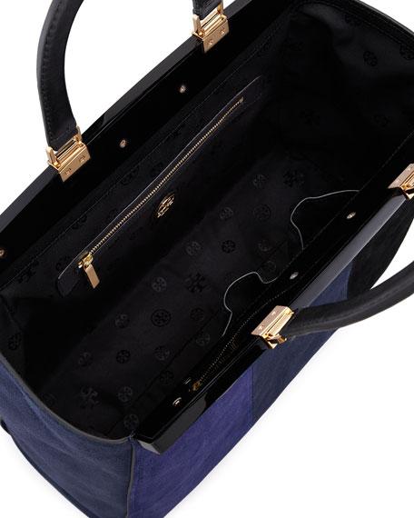 Attersee Suede Patchwork Satchel Bag, Blue/Black