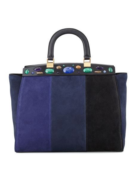 Attersee Suede Patchwork Satchel Bag, Blue/Black