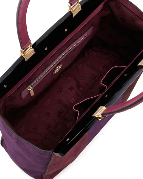 Attersee Suede Patchwork Satchel Bag, Wine