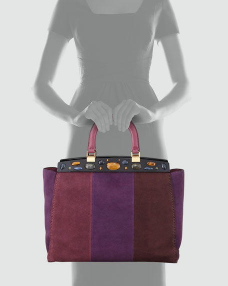 Attersee Suede Patchwork Satchel Bag, Wine