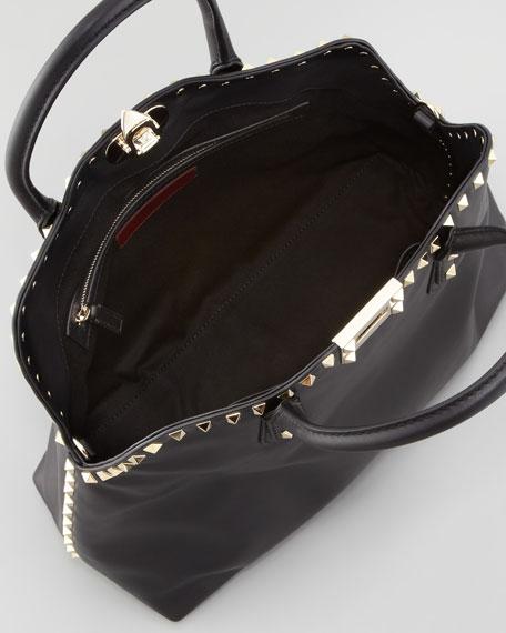 Rockstud Dome Tote Bag, Black