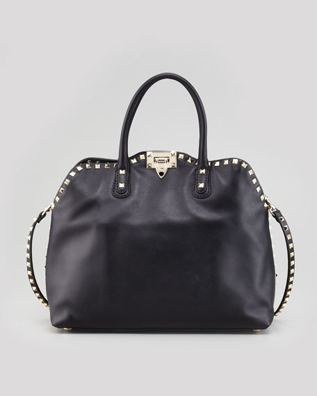 Rockstud Dome Tote Bag, Black