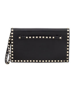 Valentino Rockstud Flap Wristlet Clutch Bag, Black