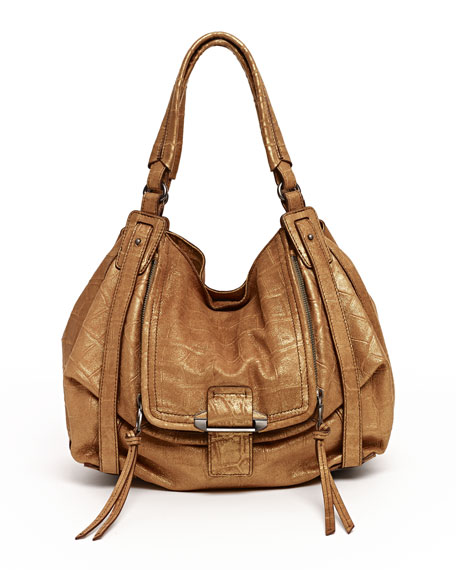 Jonnie Croc-Embossed Hobo Bag, Tan
