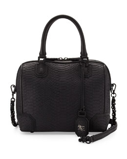Alice + Olivia Olivia Snake-Embossed Bag, Black