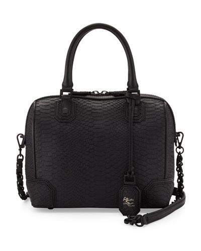 Alice + Olivia Olivia Snake-Embossed Bag, Black