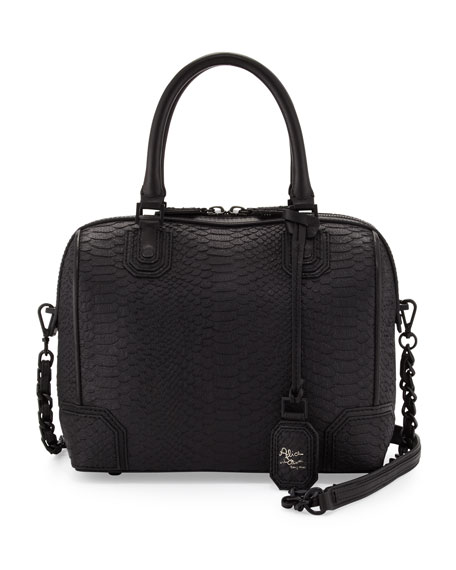 Olivia Snake-Embossed Bag, Black