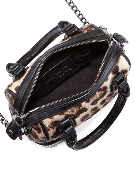 Olivia Mini Calf Hair Shoulder Bag, Leopard