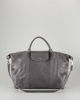 Longchamp Le Pliage Cuir Large Handbag with Strap, Gunmetal