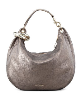 Jimmy Choo Solar Metallic Bracelet Hobo Bag, Gray