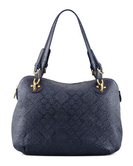 Eric Javits Zimba Woven Zip Shoulder Bag, Navy