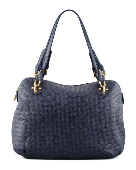 Zimba Woven Zip Shoulder Bag, Navy