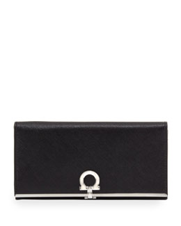 Salvatore Ferragamo Icona Continental Flap Wallet, Nero