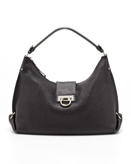 Salvatore Ferragamo Fanisa Gancini Hobo Bag, Black