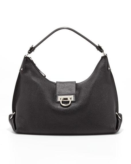 Fanisa Gancini Hobo Bag, Black