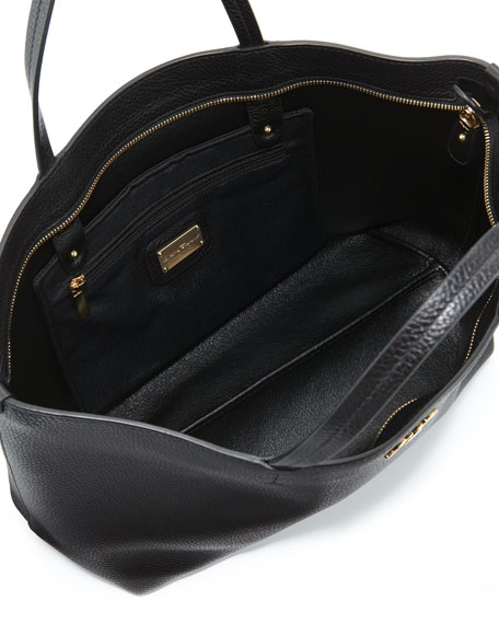 Bice Pebbled Leather Tote Bag, Black