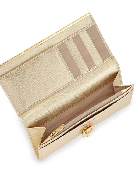 Icona Continental Flap Wallet, Gold