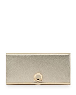 Salvatore Ferragamo Icona Continental Flap Wallet, Gold