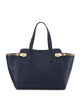 Salvatore Ferragamo Verve Light Zip-Side Large Tote Bag, Oxford  Blue