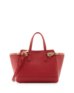 Salvatore Ferragamo Small Verve Light Zip-Side Tote Bag, Rosso