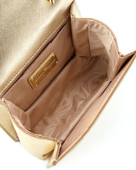 Vara Flap-Top Ginny Crossbody Bag, Gold