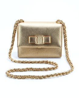 Salvatore Ferragamo Vara Flap-Top Ginny Crossbody Bag, Gold