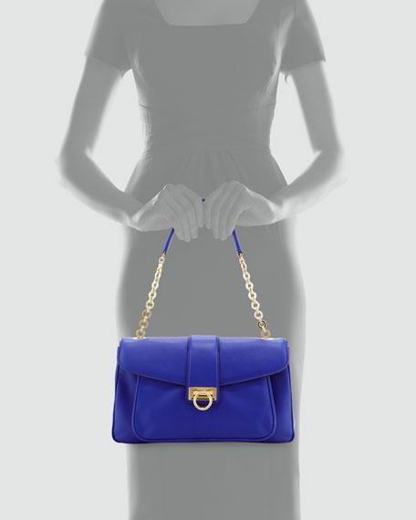 Paula Leather Shoulder Bag, Zaffiro Viola
