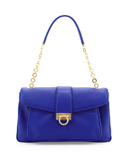 Salvatore Ferragamo Paula Leather Shoulder Bag, Zaffiro Viola