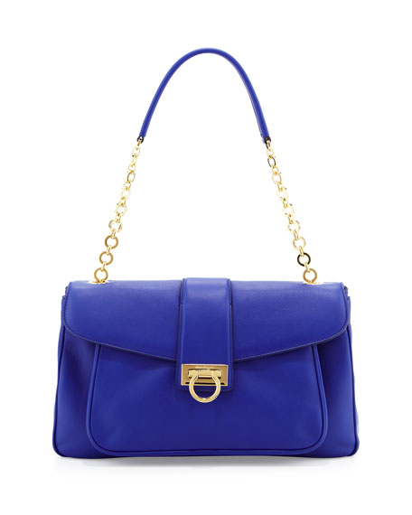 Paula Leather Shoulder Bag, Zaffiro Viola