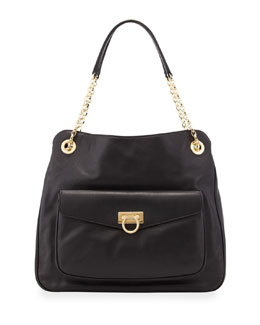 Salvatore Ferragamo Sheba Pocket Leather Tote Bag, Black