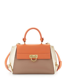 Salvatore Ferragamo Sofia Satchel Bag, Coral/Taupe/Cream