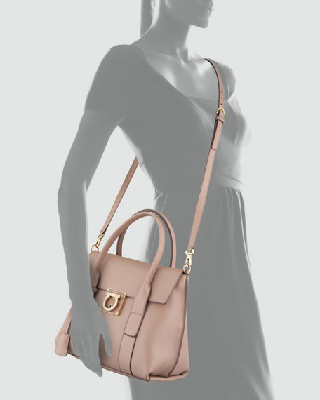 Sookie Lock Story Leather Satchel Bag, Quarzo Fume