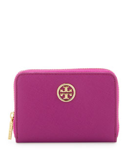 Tory Burch Robinson Zip Coin Case, Fuchsia