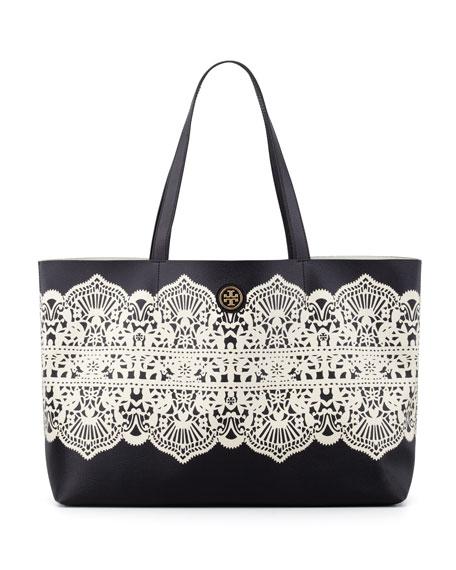Kerrington East/West Tote Bag, Black Lace