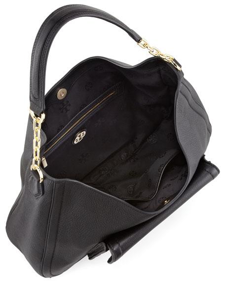 Sammy Pebbled Hobo Bag, Black