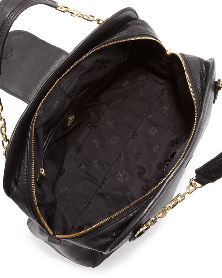 Sammy Pebbled Satchel Bag, Black