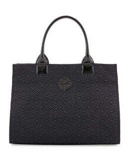 Tory Burch Ella Quilted Nylon Tote Bag, Black