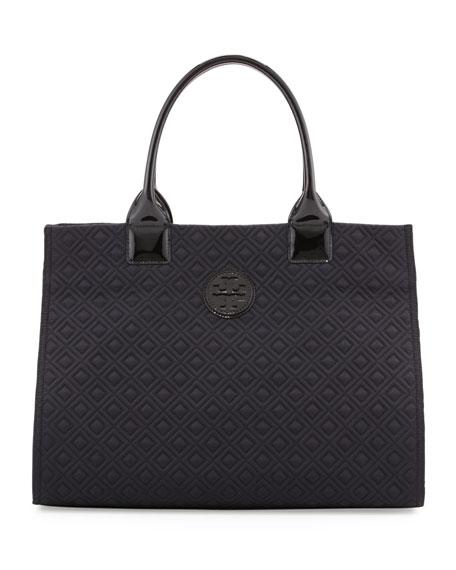 Ella Quilted Nylon Tote Bag, Black