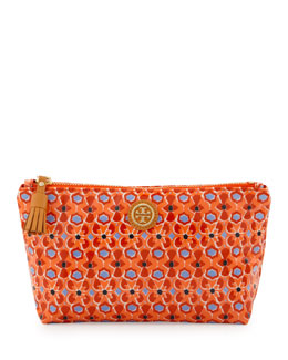 Tory Burch Printed Small Slouchy Cosmetic Bag, Tiger Lily Mosaic