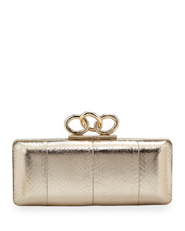 Diane von Furstenberg Sutra Snake-Embossed Chain-Top Clutch Bag