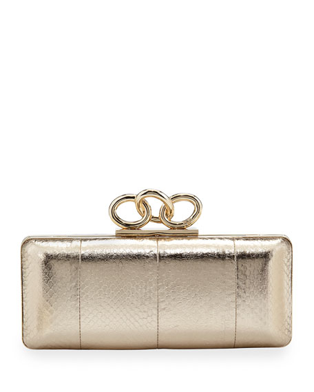 Sutra Snake-Embossed Chain-Top Clutch Bag