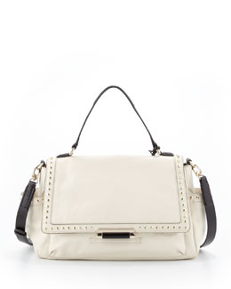 Diane von Furstenberg Highline Courier Facet-Stud Satchel Bag, Parchment