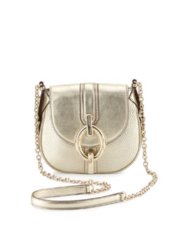 Diane von Furstenberg Sutra Mini Metallic Crossbody Bag, Light Gold