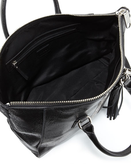 Studded Glossy Leather Satchel, Black