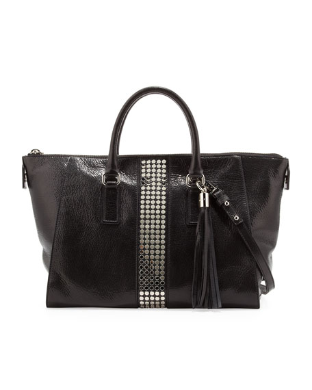 Studded Glossy Leather Satchel, Black